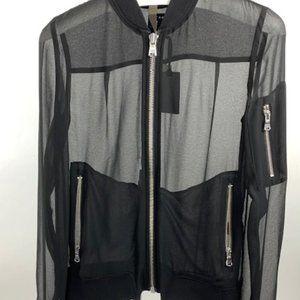 NWT Trouve S Sheer Chiffon Bomber Jacket Black